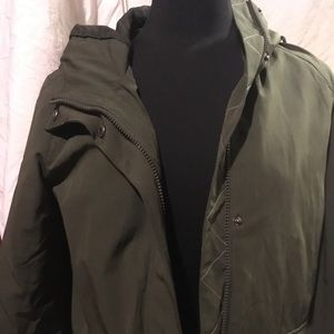 Levi's army green spring jacket big pockets, hood
